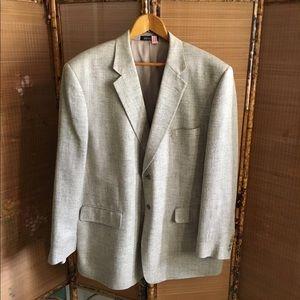 Stafford gray herringbone raw silk suit jacket